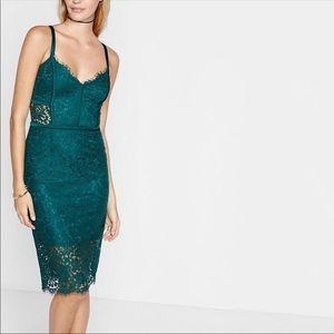 Express sexy green pipe lace midi dress